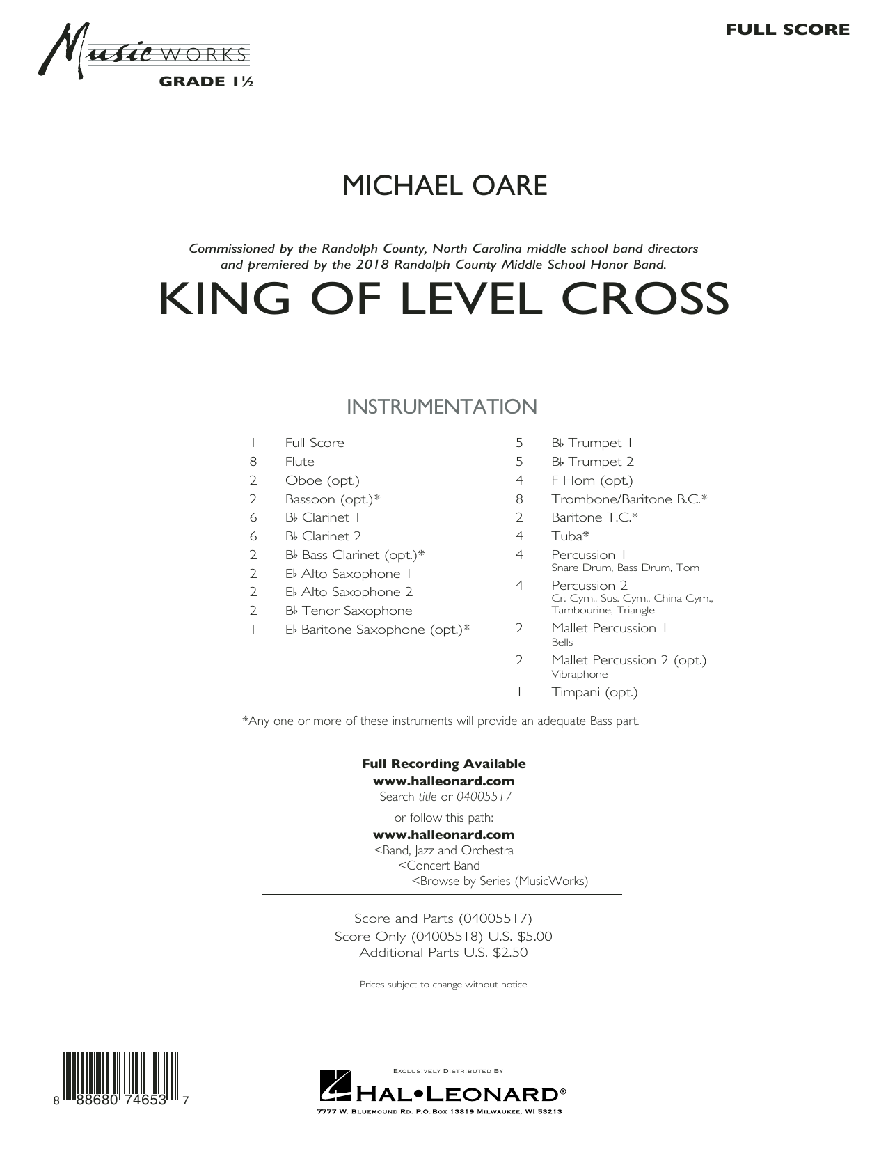 Michael Oare King of Level Cross - Conductor Score (Full Score) sheet music notes and chords. Download Printable PDF.