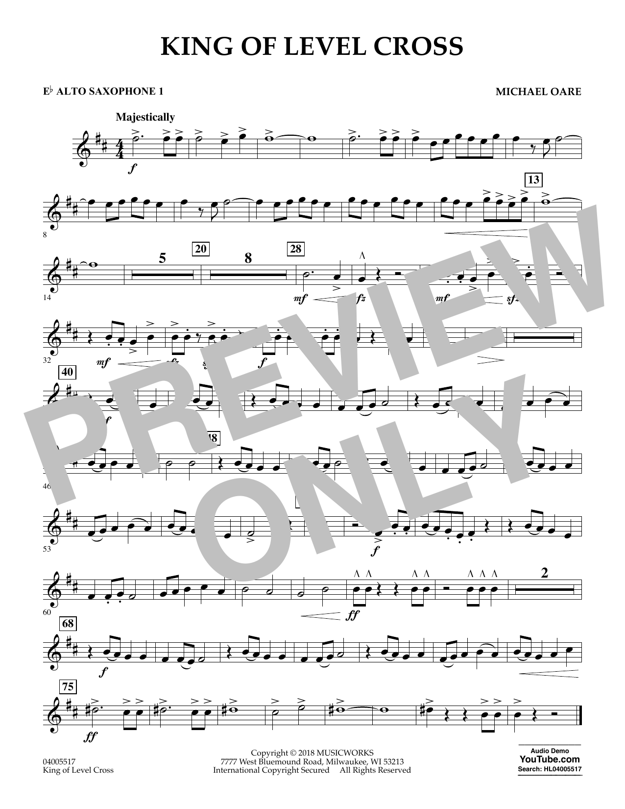 Michael Oare King of Level Cross - Eb Alto Saxophone 1 sheet music notes and chords. Download Printable PDF.