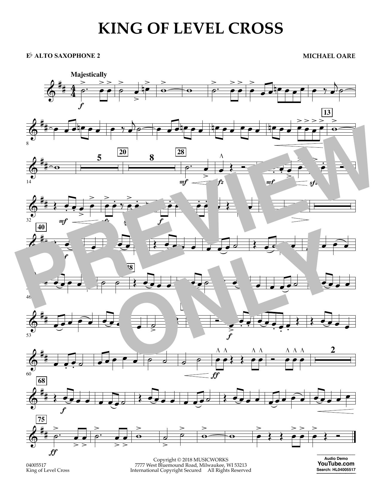 Michael Oare King of Level Cross - Eb Alto Saxophone 2 sheet music notes and chords. Download Printable PDF.