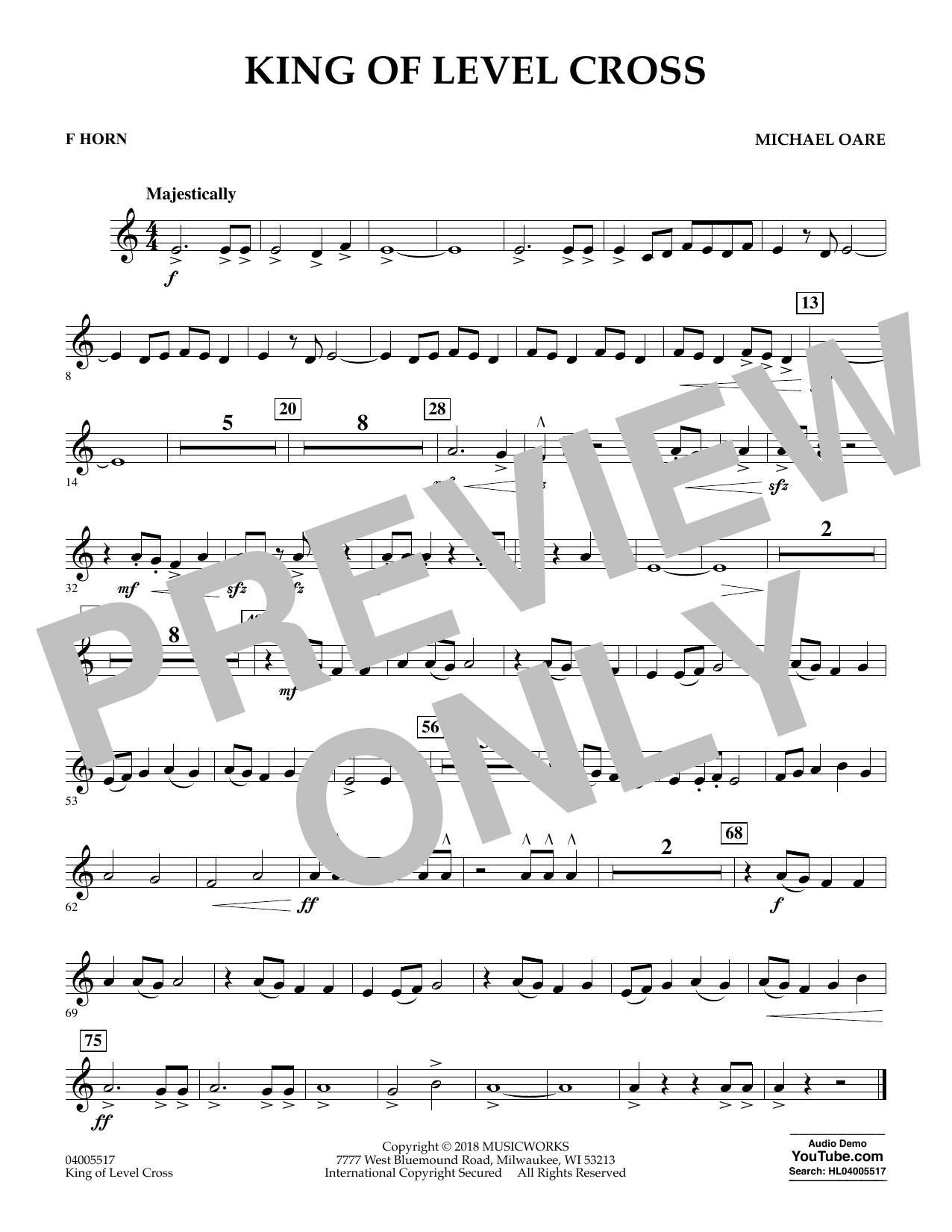 Michael Oare King of Level Cross - F Horn sheet music notes and chords. Download Printable PDF.
