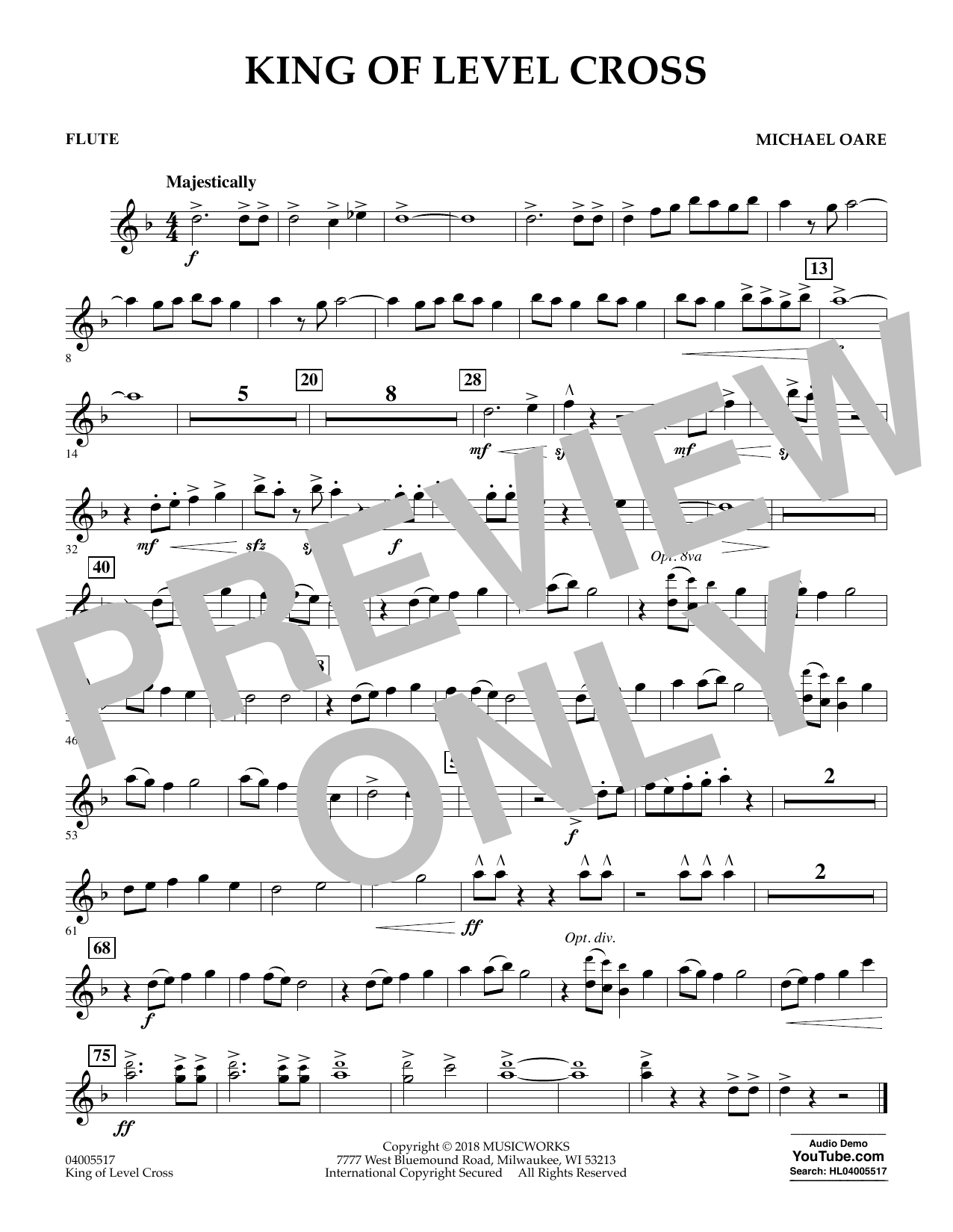 Michael Oare King of Level Cross - Flute sheet music notes and chords. Download Printable PDF.