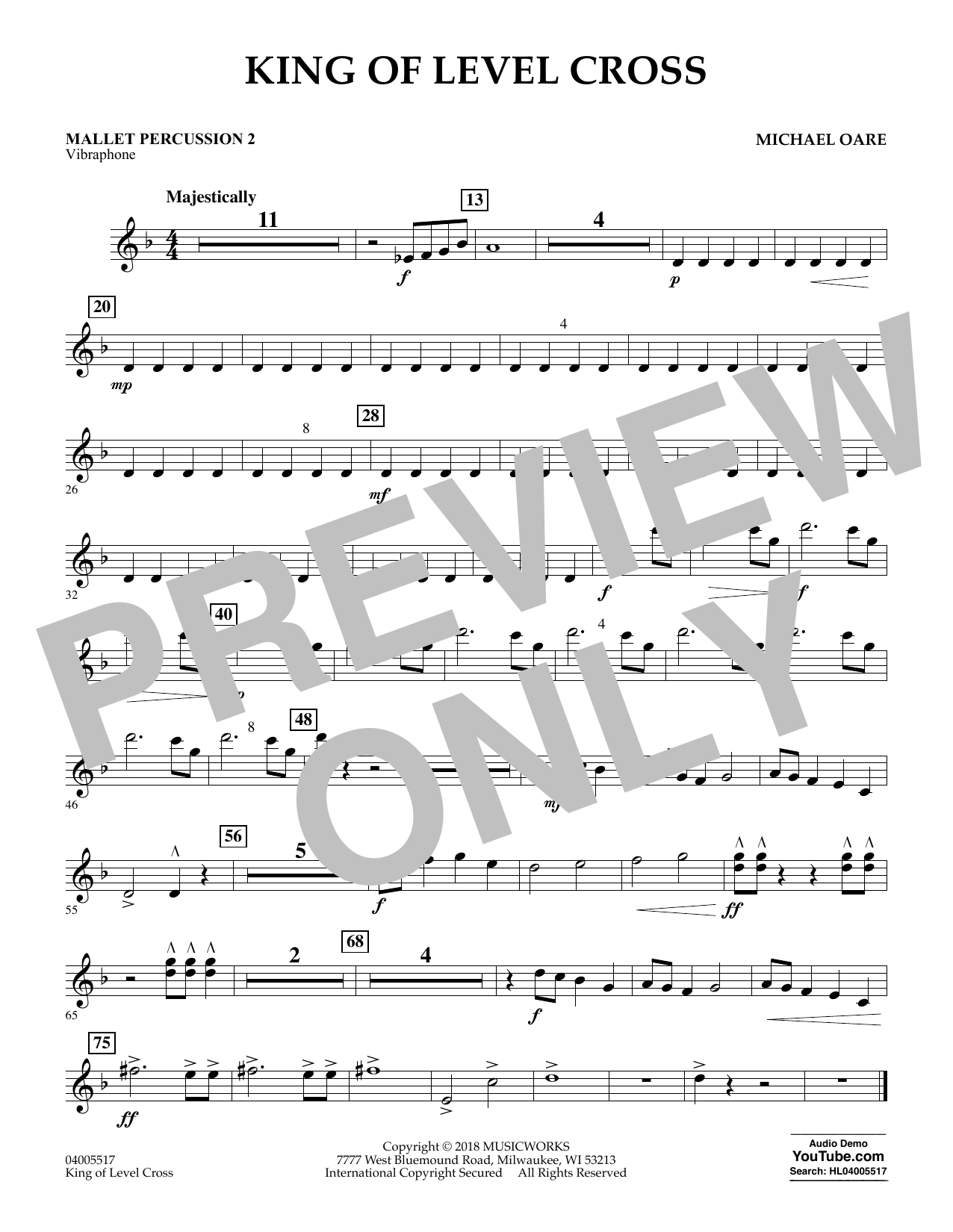 Michael Oare King of Level Cross - Mallet Percussion 2 sheet music notes and chords. Download Printable PDF.
