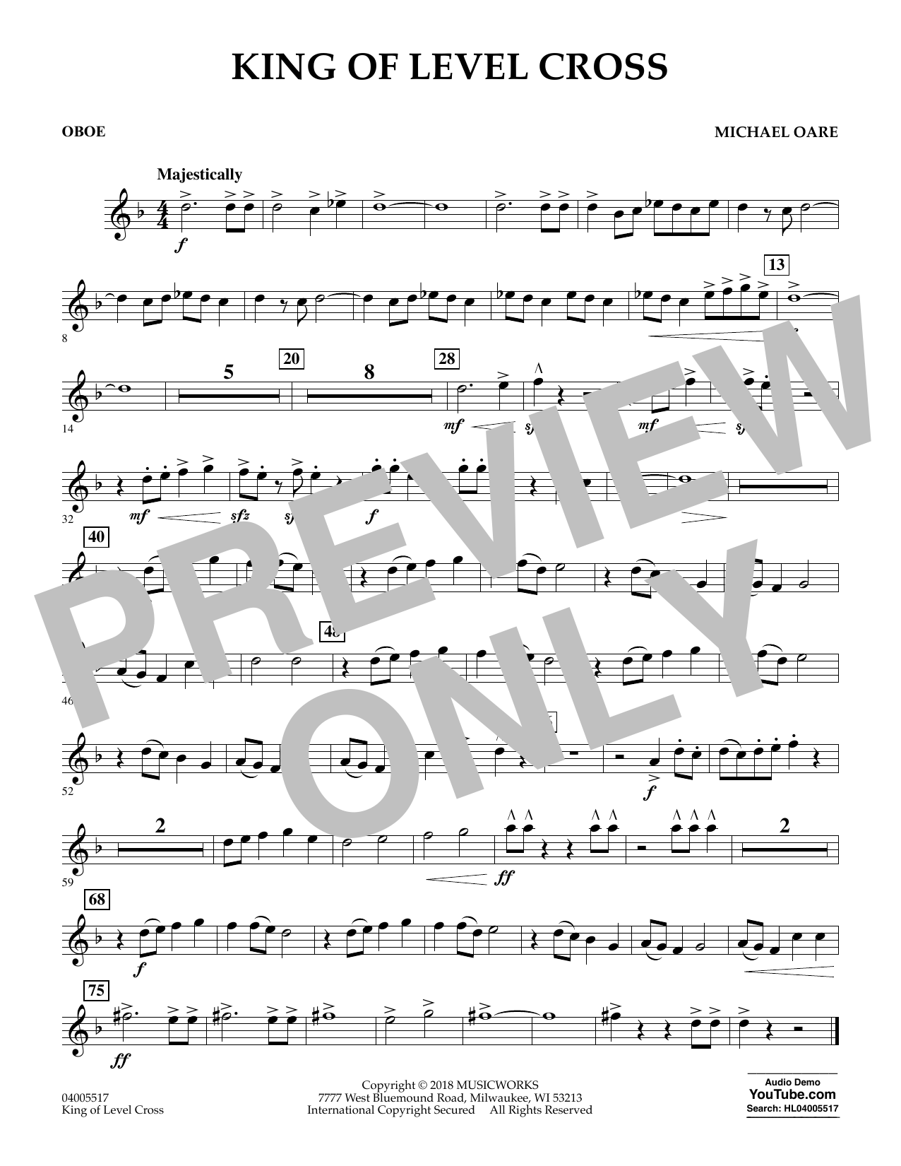Michael Oare King of Level Cross - Oboe sheet music notes and chords. Download Printable PDF.