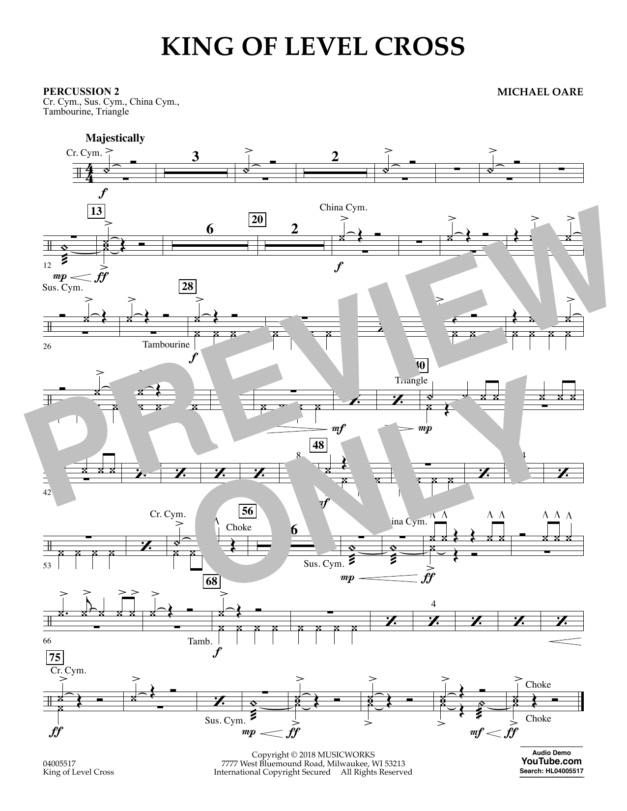 Michael Oare King of Level Cross - Percussion 2 sheet music notes and chords. Download Printable PDF.