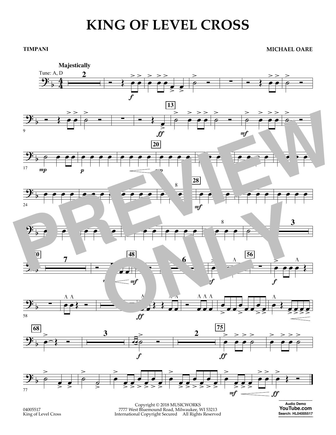 Michael Oare King of Level Cross - Timpani sheet music notes and chords. Download Printable PDF.