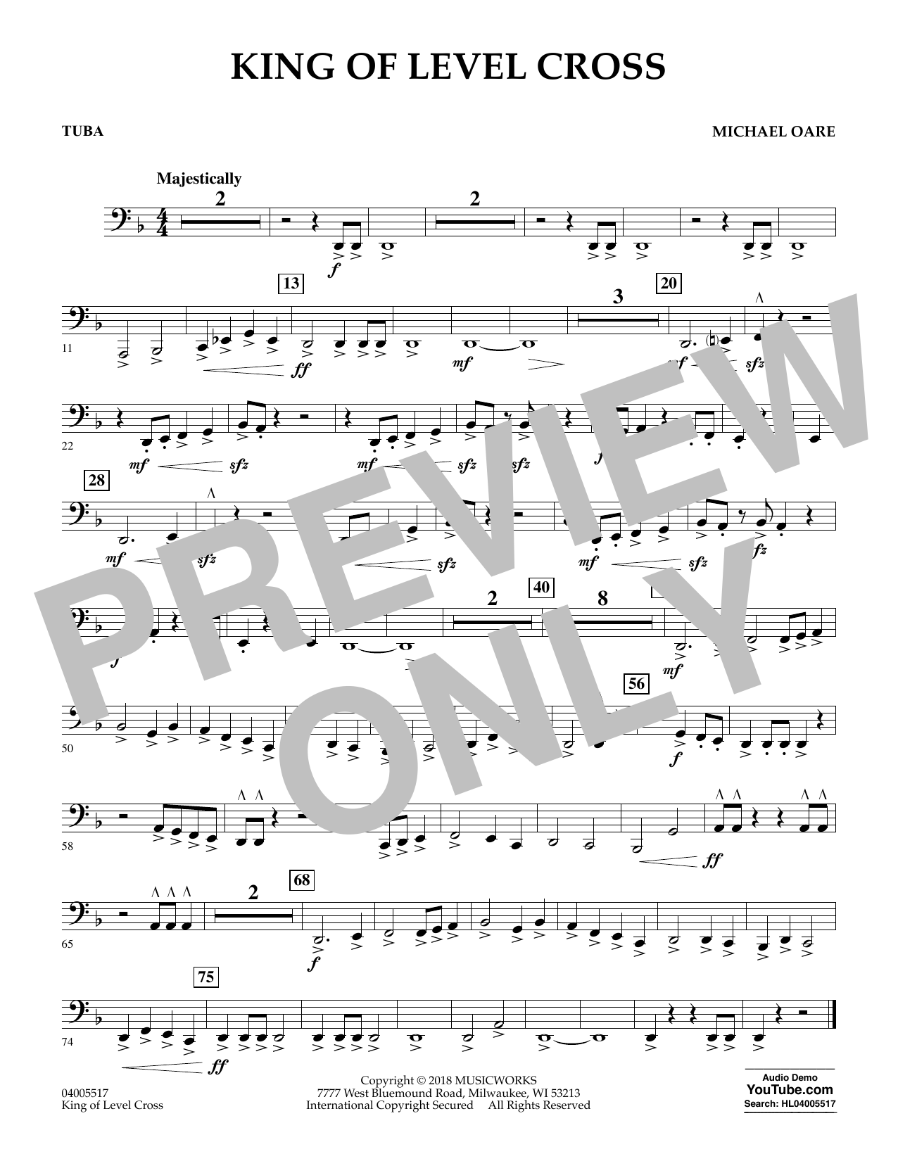 Michael Oare King of Level Cross - Tuba sheet music notes and chords. Download Printable PDF.