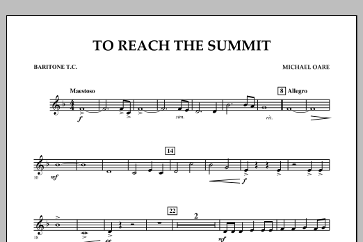 Michael Oare To Reach the Summit - Baritone T.C. sheet music notes and chords. Download Printable PDF.