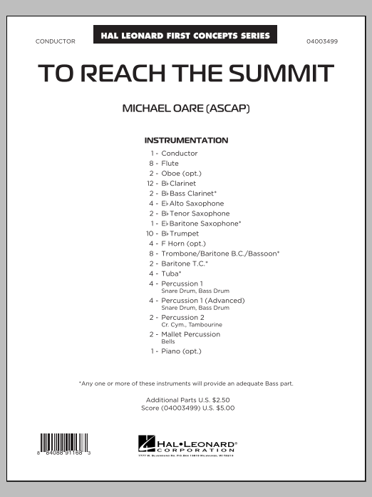 Michael Oare To Reach the Summit - Conductor Score (Full Score) sheet music notes and chords. Download Printable PDF.