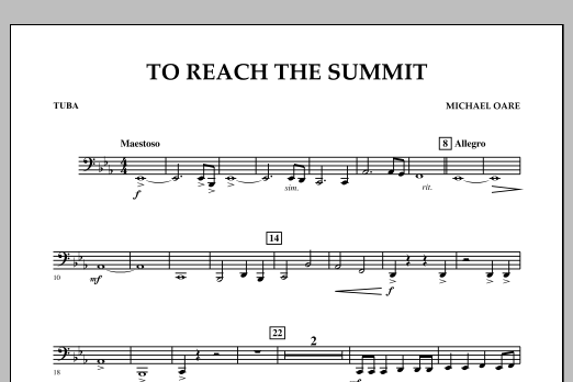 Michael Oare To Reach the Summit - Tuba sheet music notes and chords. Download Printable PDF.