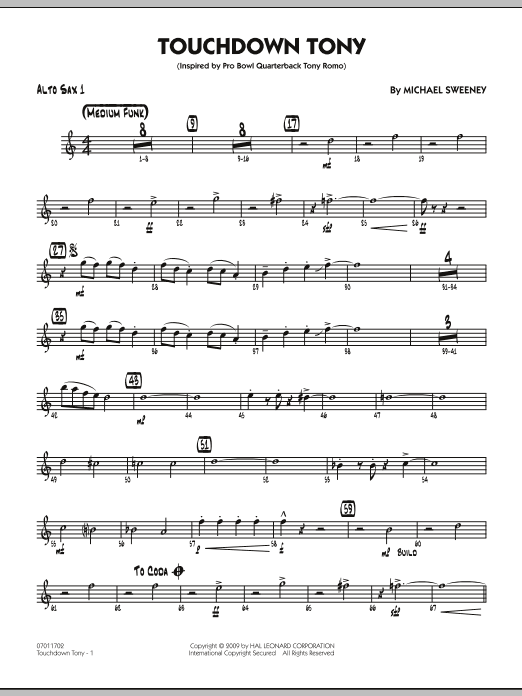 Michael Sweeney Touchdown Tony - Alto Sax 1 sheet music notes and chords. Download Printable PDF.