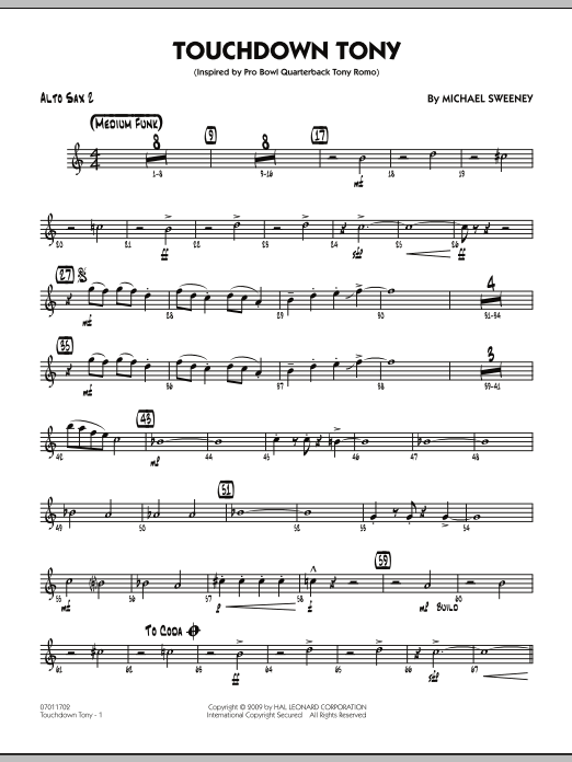 Michael Sweeney Touchdown Tony - Alto Sax 2 sheet music notes and chords. Download Printable PDF.