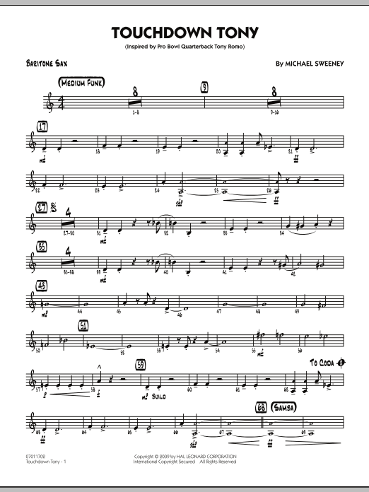 Michael Sweeney Touchdown Tony - Baritone Sax sheet music notes and chords. Download Printable PDF.