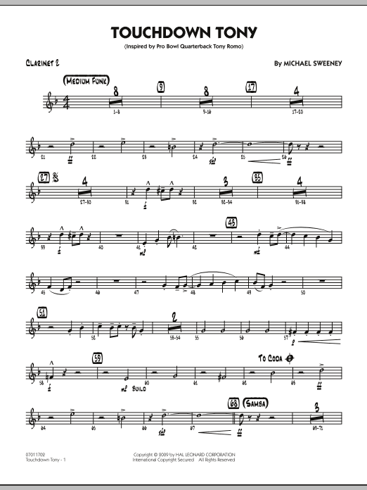 Michael Sweeney Touchdown Tony - Bb Clarinet 2 sheet music notes and chords. Download Printable PDF.