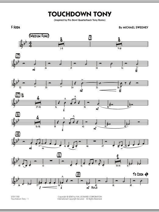 Michael Sweeney Touchdown Tony - F Horn sheet music notes and chords. Download Printable PDF.