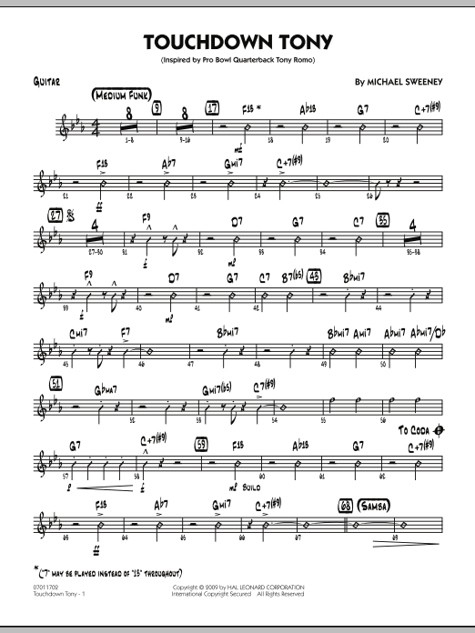 Michael Sweeney Touchdown Tony - Guitar sheet music notes and chords. Download Printable PDF.