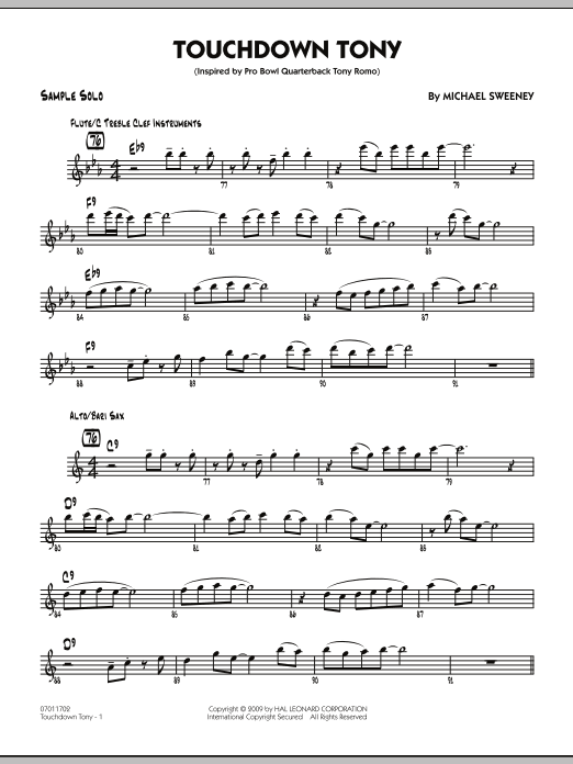 Michael Sweeney Touchdown Tony - Sample Solo sheet music notes and chords. Download Printable PDF.