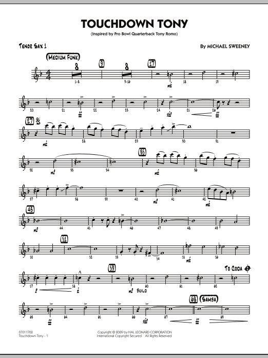 Michael Sweeney Touchdown Tony - Tenor Sax 1 sheet music notes and chords. Download Printable PDF.