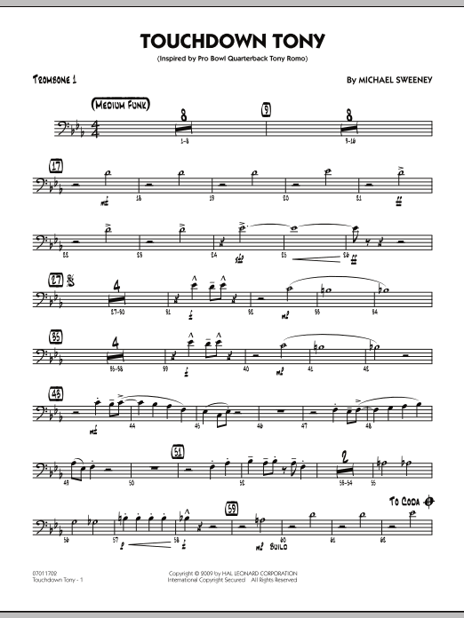 Michael Sweeney Touchdown Tony - Trombone 1 sheet music notes and chords. Download Printable PDF.