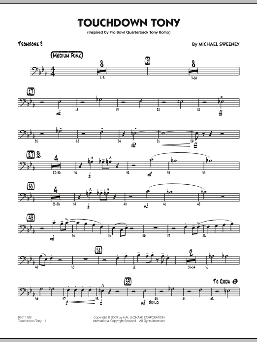 Michael Sweeney Touchdown Tony - Trombone 3 sheet music notes and chords. Download Printable PDF.