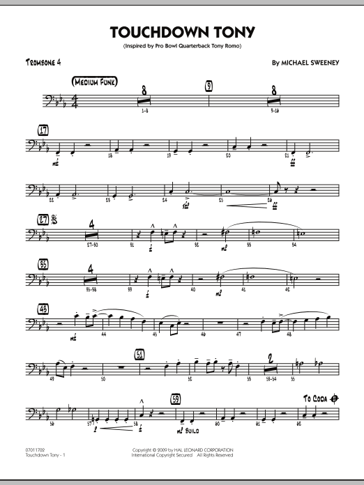 Michael Sweeney Touchdown Tony - Trombone 4 sheet music notes and chords. Download Printable PDF.
