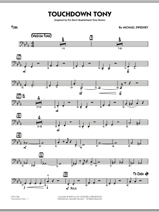 Michael Sweeney Touchdown Tony - Tuba sheet music notes and chords. Download Printable PDF.