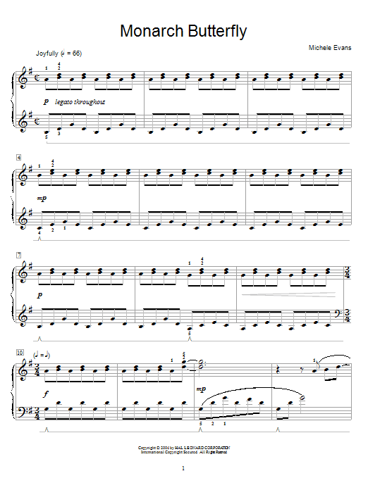 Michele Evans Monarch Butterfly sheet music notes and chords. Download Printable PDF.