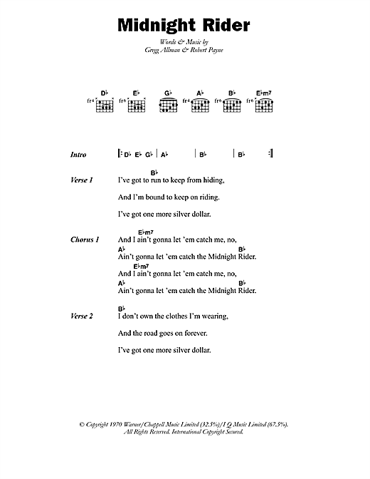 Paul Davidson Midnight Rider sheet music notes printable PDF score