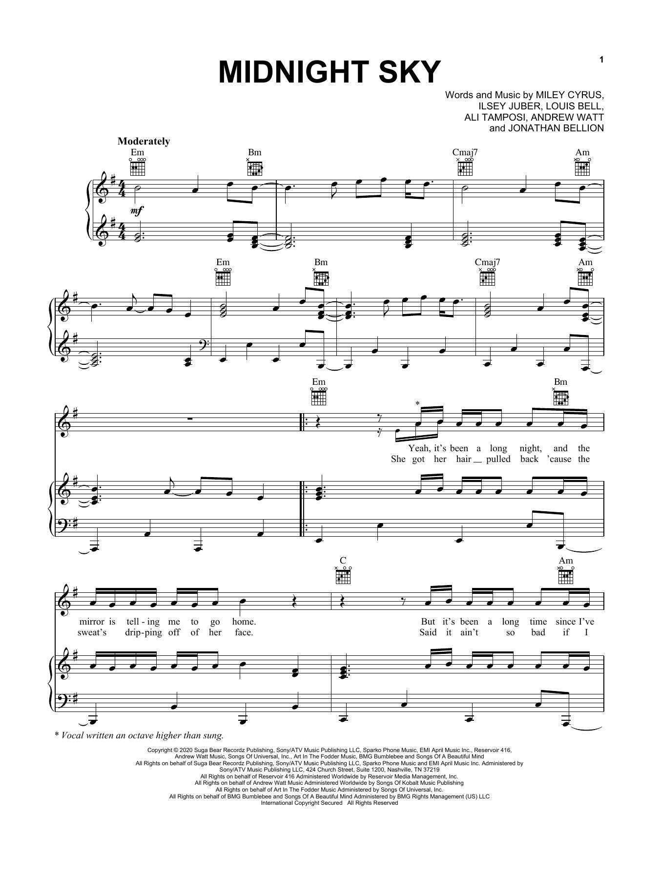 Miley Cyrus Midnight Sky sheet music notes printable PDF score