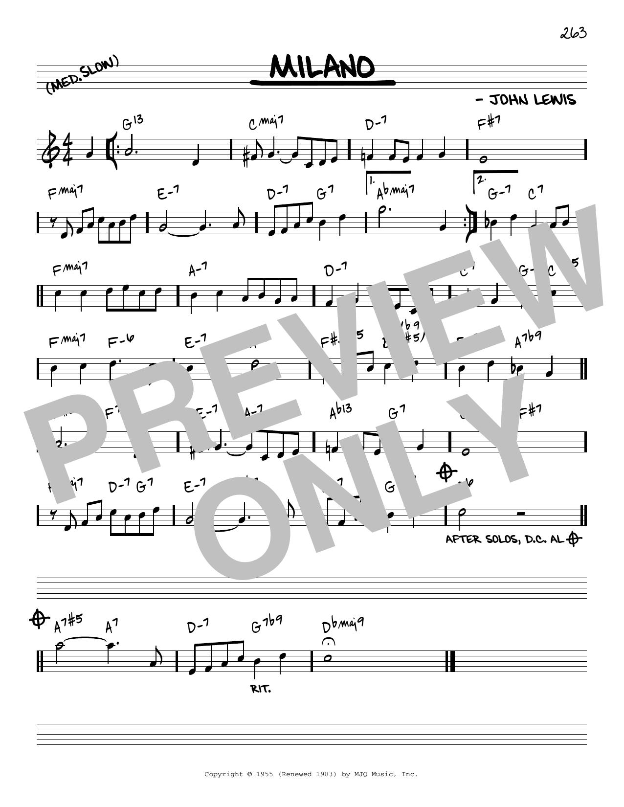 John Lewis Milano [Reharmonized version] (arr. Jack Grassel) sheet music notes printable PDF score