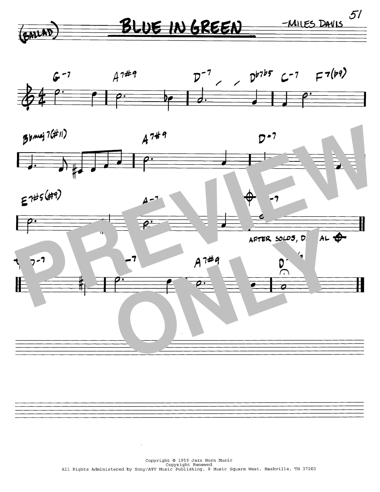 Miles Davis Blue In Green sheet music notes and chords. Download Printable PDF.