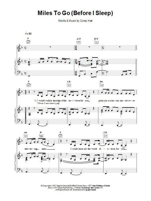 Celine Dion Miles To Go Before I Sleep sheet music notes printable PDF score
