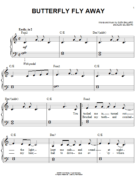 Miley Cyrus Butterfly Fly Away sheet music notes and chords. Download Printable PDF.