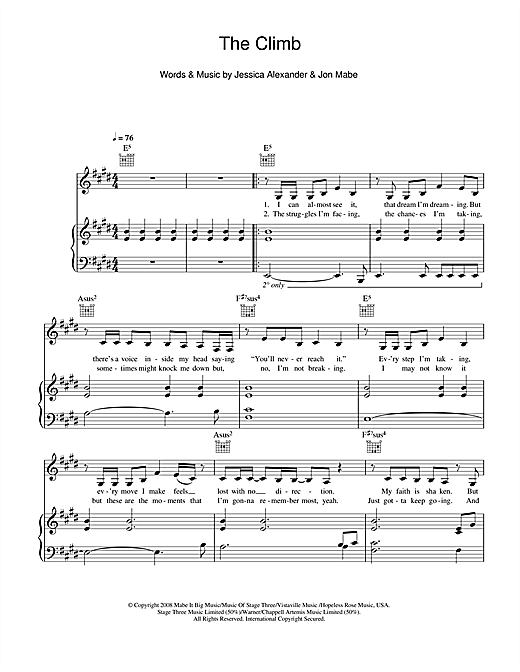 Miley Cyrus The Climb sheet music notes and chords. Download Printable PDF.