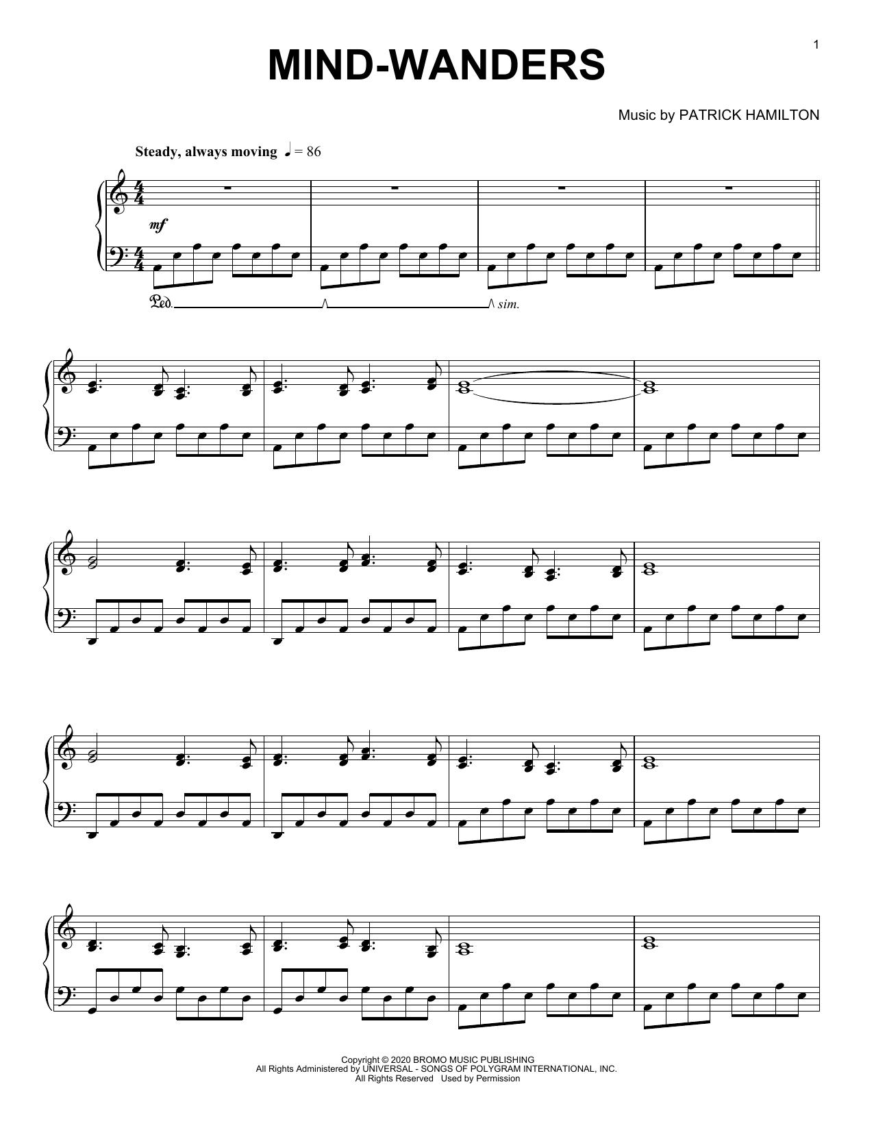 Patrick Hamilton Mind-wanders sheet music notes printable PDF score