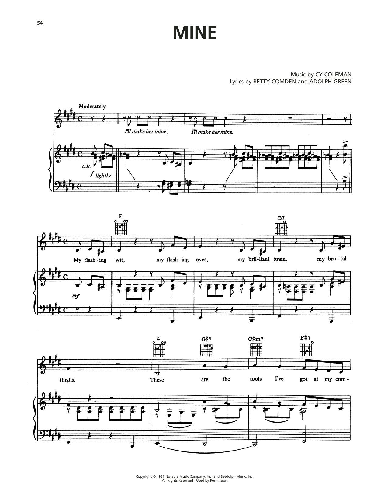 Cy Coleman Mine (from On The Twentieth Century) sheet music notes printable PDF score