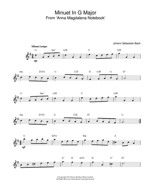 Johann Sebastian Bach Minuet In G sheet music notes printable PDF score