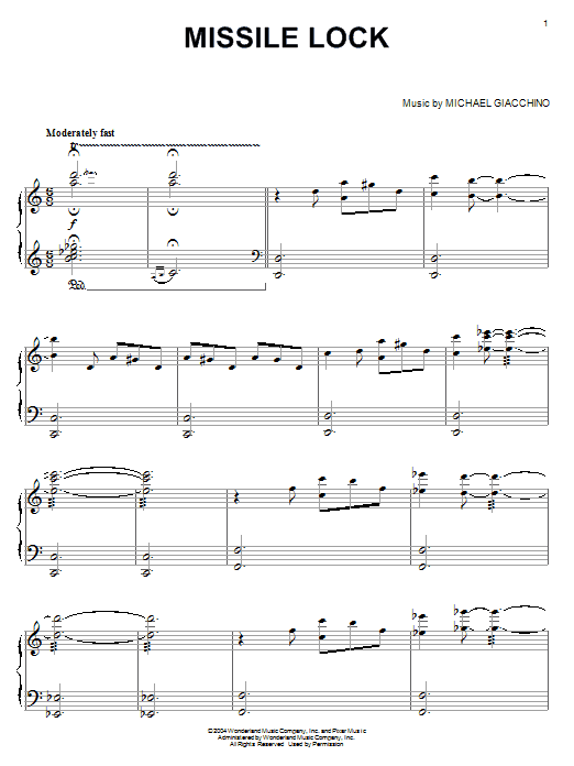 Michael Giacchino Missile Lock (from The Incredibles) sheet music notes printable PDF score