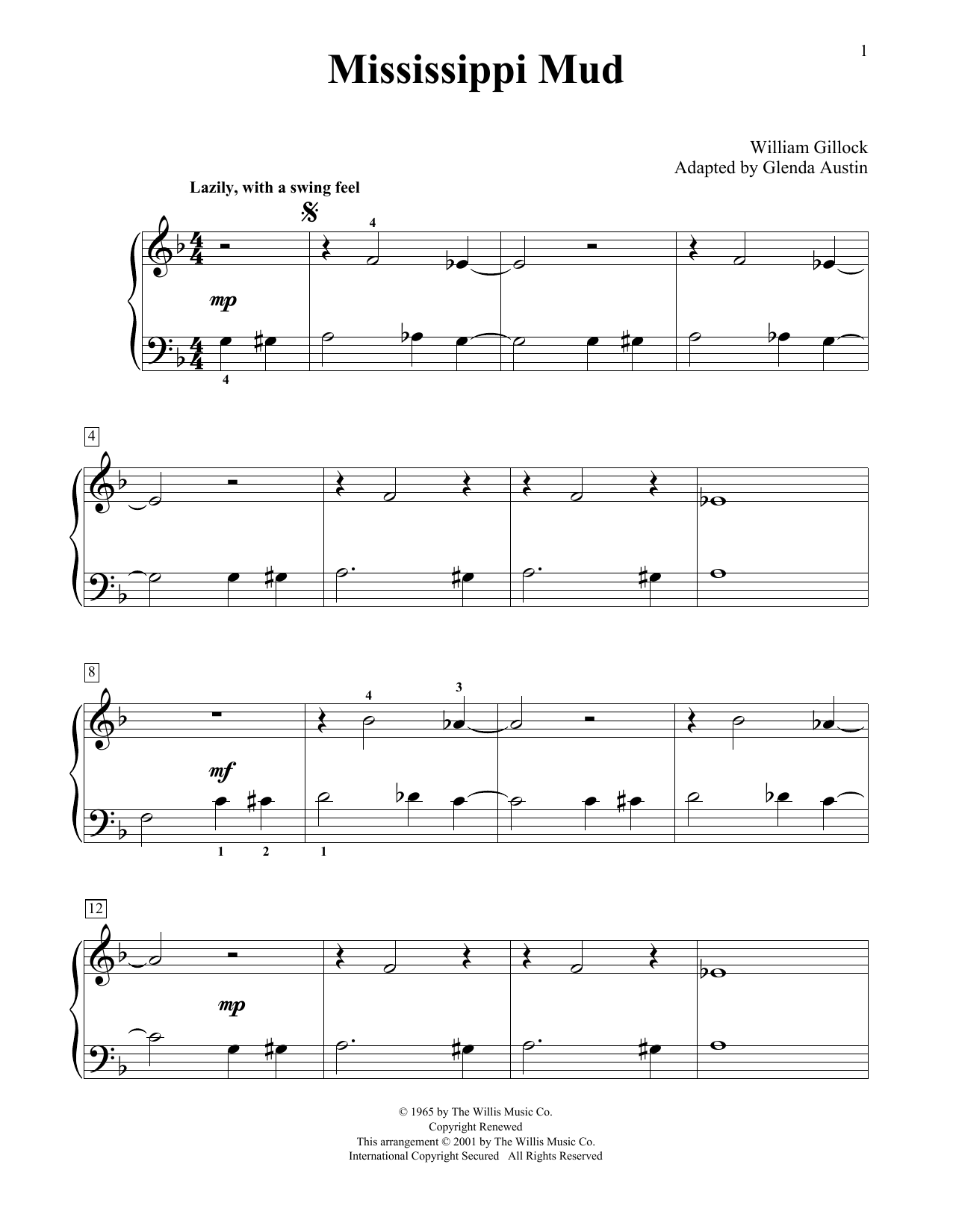 William Gillock Mississippi Mud (Simplified) (adapted by Glenda Austin) sheet music notes printable PDF score