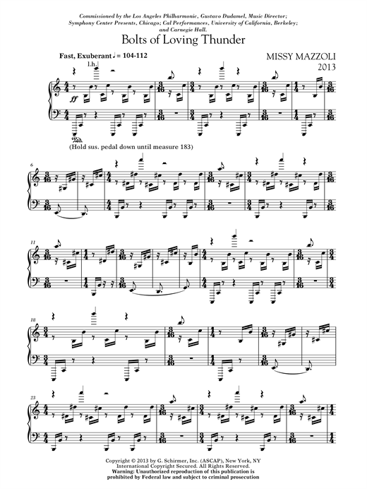 Missy Mazzoli Bolts Of Loving Thunder sheet music notes and chords. Download Printable PDF.