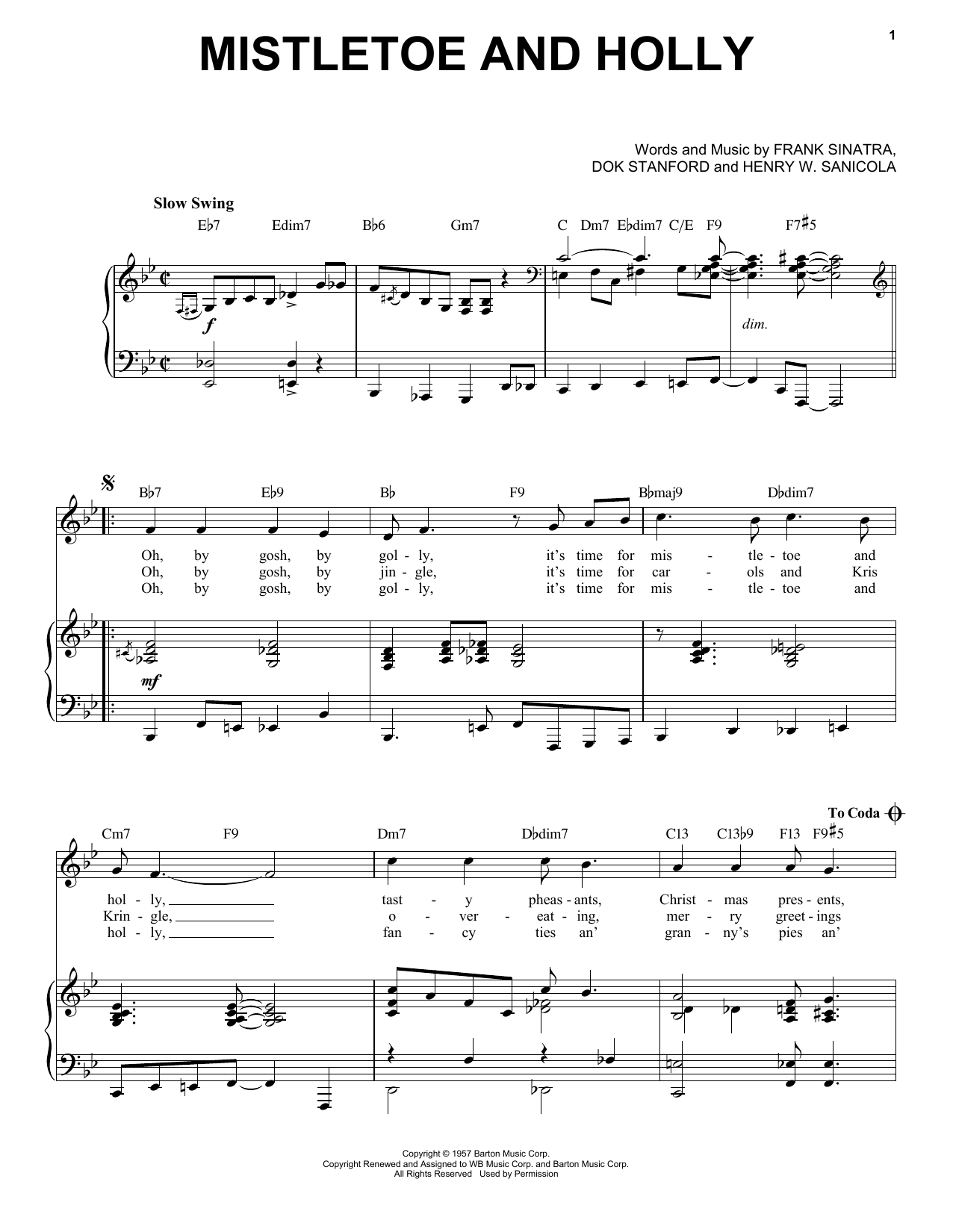 Frank Sinatra Mistletoe And Holly [Jazz Version] (arr. Brent Edstrom) sheet music notes printable PDF score