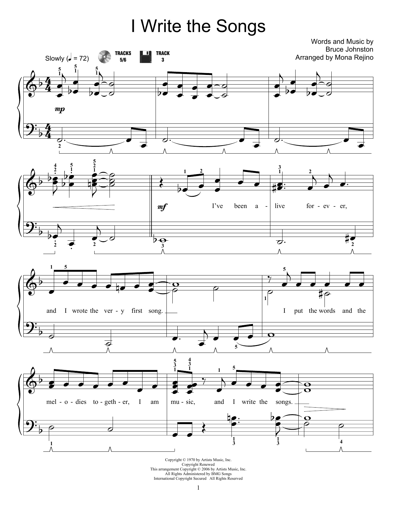 Mona Rejino I Write The Songs sheet music notes and chords - download printable PDF.