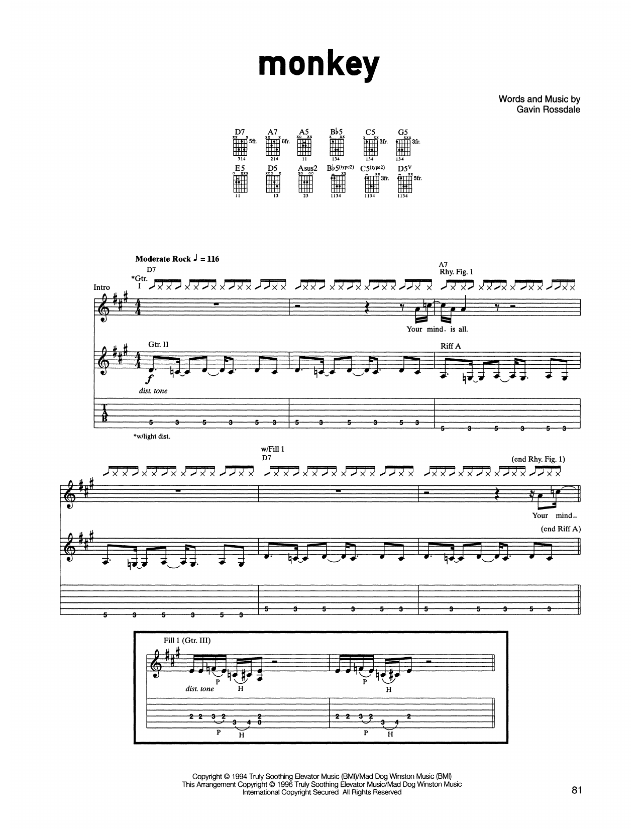 Bush Monkey sheet music notes printable PDF score