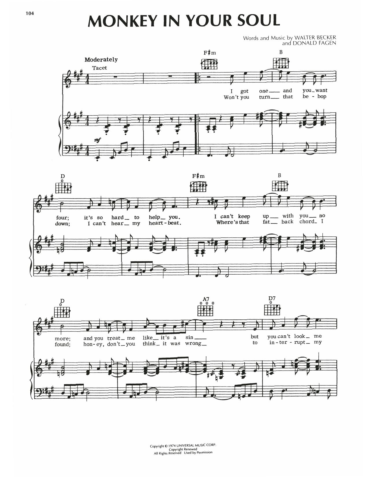 Steely Dan Monkey In Your Soul sheet music notes printable PDF score
