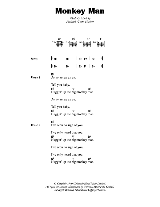 Toots & The Maytals Monkey Man sheet music notes printable PDF score