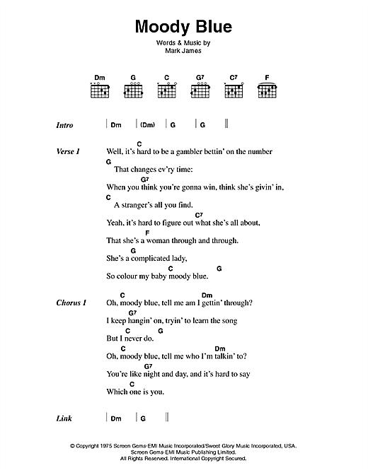 Elvis Presley Moody Blue sheet music notes printable PDF score