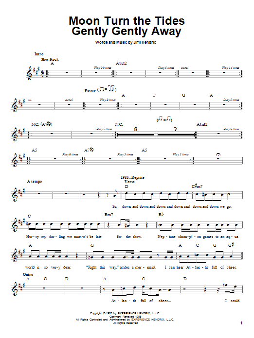 Jimi Hendrix Moon Turn The Tides Gently Gently Away sheet music notes printable PDF score