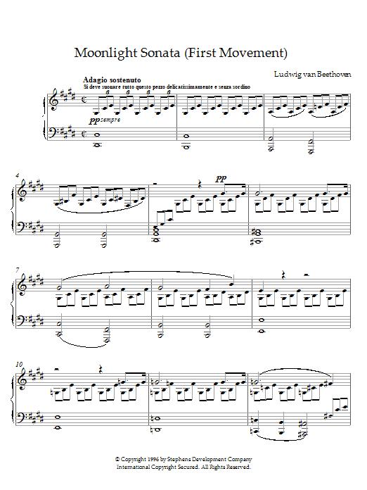 Ludwig van Beethoven Moonlight Sonata, First Movement, Op. 27, No. 2 sheet music notes printable PDF score