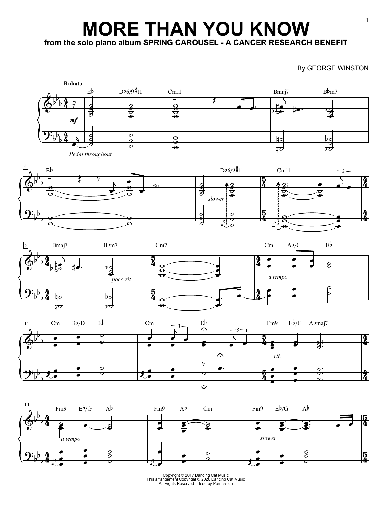 George Winston More Than You Know sheet music notes printable PDF score