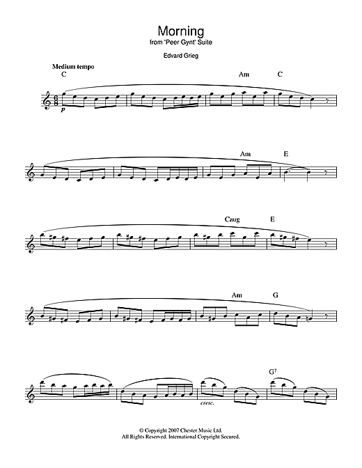 Edvard Grieg Morning (from Peer Gynt Suite No.1) sheet music notes printable PDF score