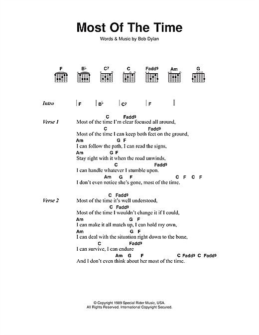 Bob Dylan Most Of The Time (from High Fidelity) sheet music notes printable PDF score